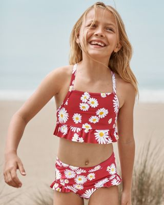 Girls' High-Waisted Ruffle Bikini Bottom UPF 50+