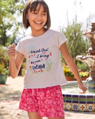 Girls' Organic-Cotton Embellished Boxy Tee