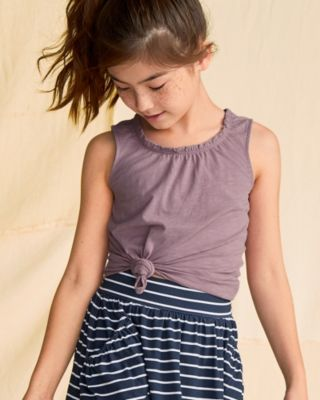 Girls' Organic-Cotton Ruched-Neck Tank Top