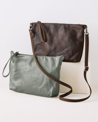 Pinched-Bottom Leather Cross-Body Bag by Rough & Tumble