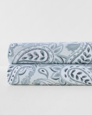 Painted Blue Paisley Hemstitched Supima Cotton Percale Sheet Set