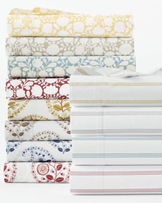 Printed Siesta Washed-Organic-Cotton Percale Sheets