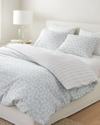 Printed Reversible Siesta Washed-Organic-Cotton Percale Duvet Cover