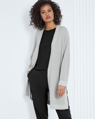 EILEEN FISHER Fine Organic Cotton & Silk Cardigan Sweater