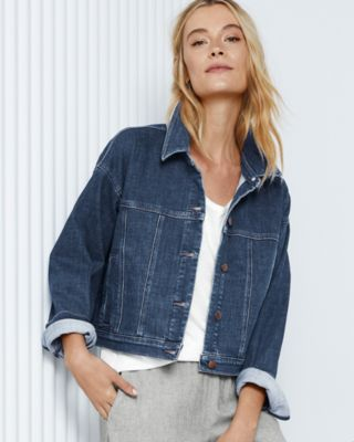 EILEEN FISHER Organic-Cotton Stretch-Denim Jacket