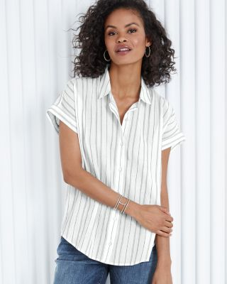 EILEEN FISHER TENCEL™ & Organic Cotton Striped Boxy