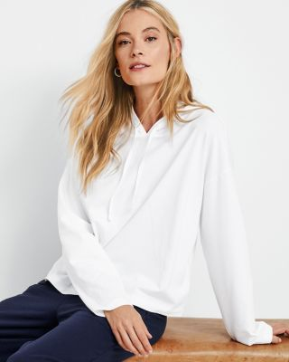 EILEEN FISHER Organic-Cotton-Jersey Hooded Boxy Top