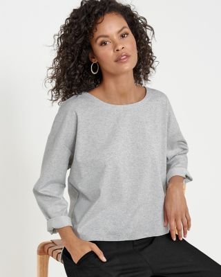 EILEEN FISHER Organic-Cotton Speckled Boxy Top