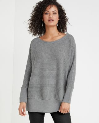 EILEEN FISHER Washable-Wool Rib-Detail Bateau-Neck Tunic Top