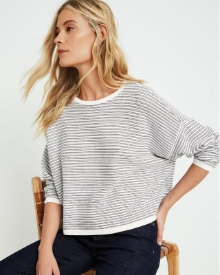 EILEEN FISHER Fine Organic Cotton & Silk Striped Sweater
