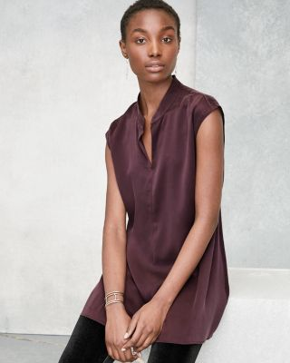 EILEEN FISHER Sand-Washed Silk Charmeuse Mandarin-Collar Tunic Top