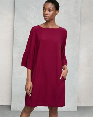 EILEEN FISHER Silk Georgette Crepe Lantern-Sleeve Dress