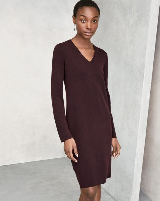 EILEEN FISHER Washable Wool Fine-Crepe V-Neck Dress