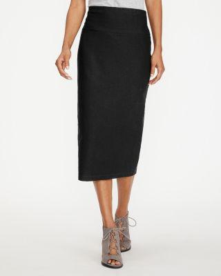 EILEEN FISHER Stretch-Crepe Slim Midi Skirt Petite