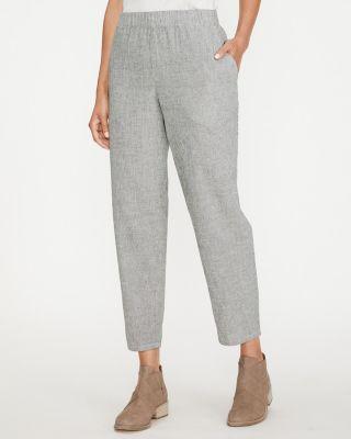 EILEEN FISHER Organic-Cotton & Linen Ticking-Stripe Ankle Pants Petite