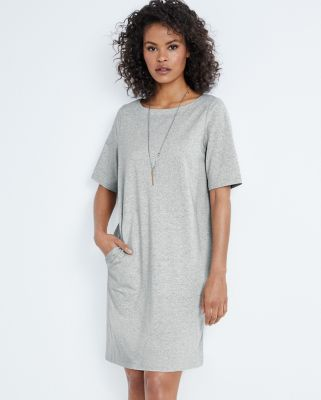 EILEEN FISHER Organic-Cotton Speckled Knit Dress Petite
