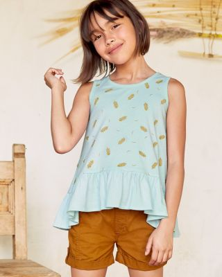 Girls' Embroidered Cotton Knit Swing Tank Top