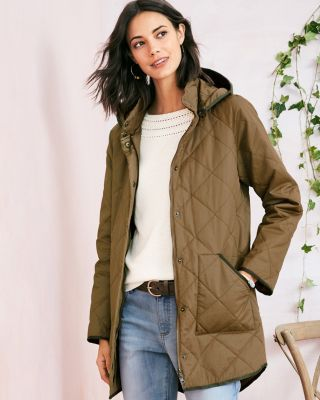 Coated-Cotton Quilted Jacket