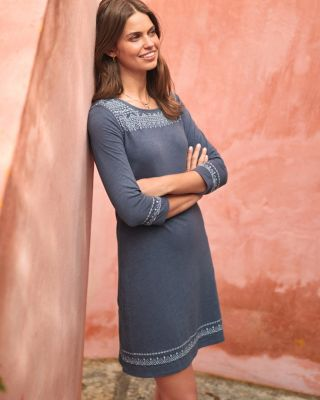 Easy Embroidered Organic Cotton Knit Dress
