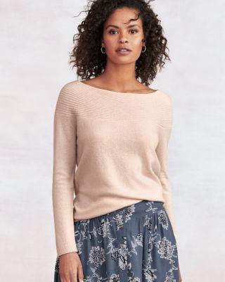Ribbed Bateau Cashmere Sweater