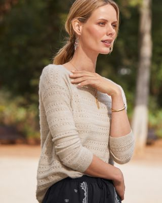 Cashmere Pointelle-Stripe Sweater