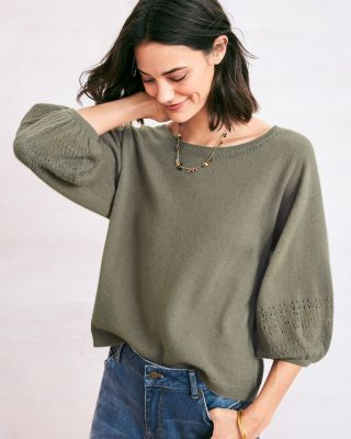 Blouson-Sleeve Cashmere Pullover Sweater Top