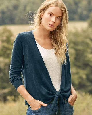 Cashmere Easy Tie-Front Sweater
