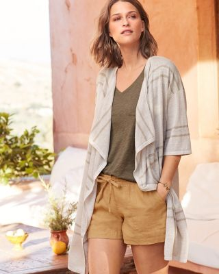 Easy Long Organic Linen Cardigan Sweater