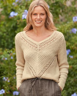 Mitered Pointelle Tissue Linen and Cotton Pullover Top