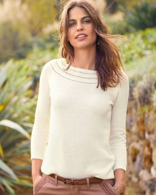 Lace-Stitch Fair Isle Sweater