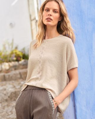 Oversized Organic Linen Cabled Batwing Sweater