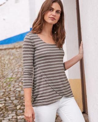 Organic-Linen Crossover Wrap Tee Shirt