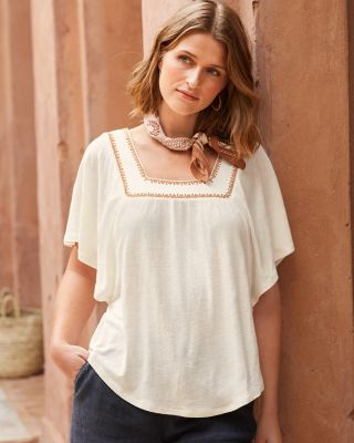 Linen & Modal Square-Neck Knit Top