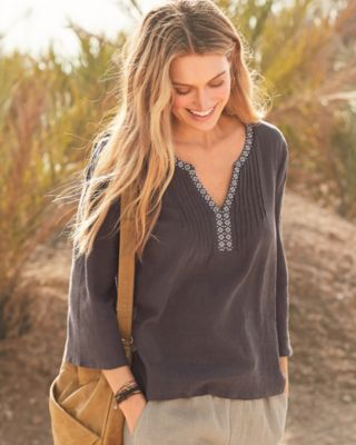 Pintuck Organic Cotton Gauze Popover Top