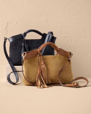 Elci Leather & Straw Convertible Handbag