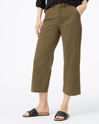 Cropped Organic Cotton Blend Wide-Leg Chinos