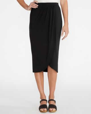 Knit Midi Wrap Skirt With Tulip Hem