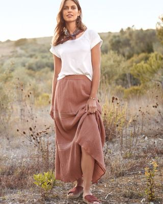 Smock-Detail Organic Cotton Gauze Maxi Skirt