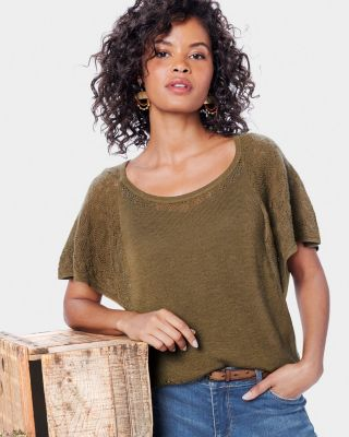 Lightweight Flutter-Sleeve Cashmere Sweater