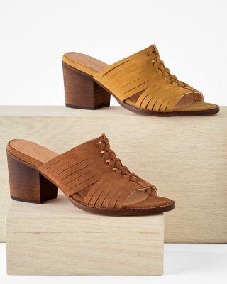 Sandra Strapped Slip-On Suede Heels