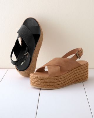 Audrey Platform Leather Espadrille Wedge Sandals