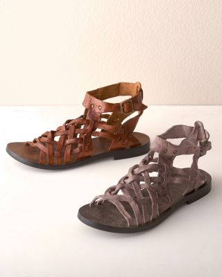 Bari Tumbled-Leather Gladiator Sandals