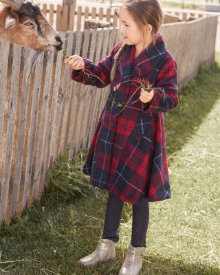 Girls' Plaid Flounce Coat by Widgeon