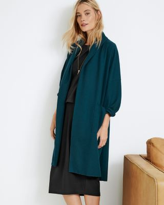 EILEEN FISHER Boiled Wool Kimono Long Jacket Petite