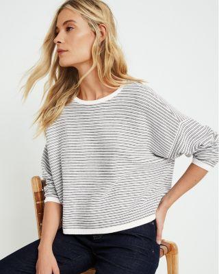 EILEEN FISHER Fine Organic Cotton & Silk Striped Sweater Petite