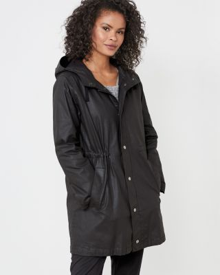 EILEEN FISHER Waxed-Organic-Cotton-Twill Hooded Coat Petite