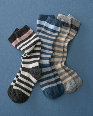 Wool & Cashmere Striped Socks