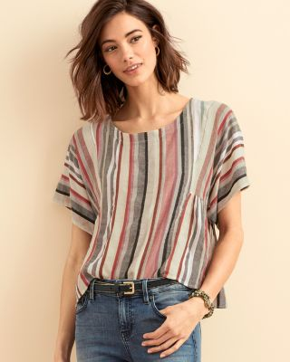 Striped Kimono-Sleeve Boxy Top by The Odells