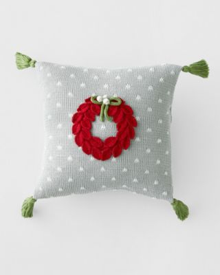 Holiday Knit Red Wreath Pillow