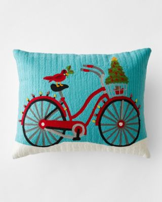 Crewel-Embroidered Holiday Bike Decorative Pillow With Insert